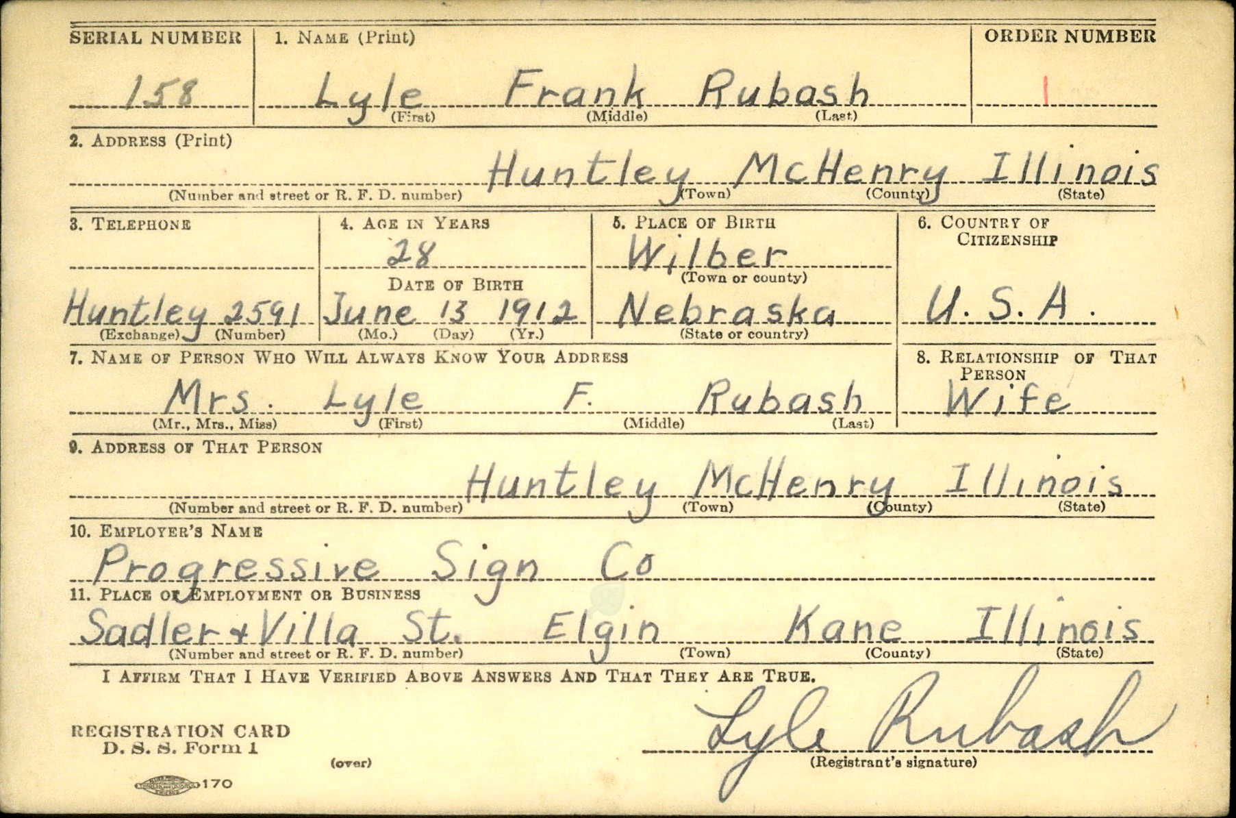 Draft Card for Lyle Frank Rubash of Huntley, Illinois